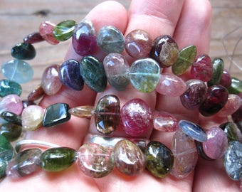 Watermelon Tourmaline Beads large smooth polished nuggets 12mm X 8mm
