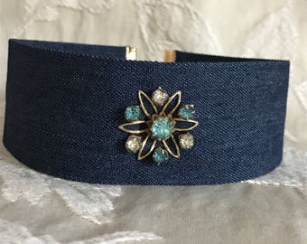 Blue jean choker with vintage rhinestone accent  -  Found Object Assemblage Necklace - OOAK, up cycled recycled, repurposed, wide, OOAK