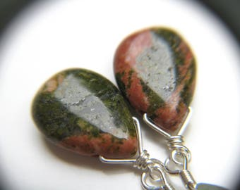 Dark Green Earrings . Green Stone Earrings . Unakite Earrings . Dark Green Teardrop Earrings Sterling Silver