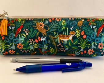Makeup Bag - Slim - Brush Bag - Pencil Pouch - Small Zippered Pouch - Padded Pouch - Jungle Theme - Tiger Pouch - Wild Animals Print