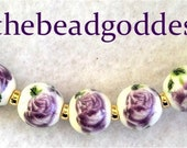 Sweet New 7 HAND MADE Porcelain CERAMIC Beads Purple and White 10mm