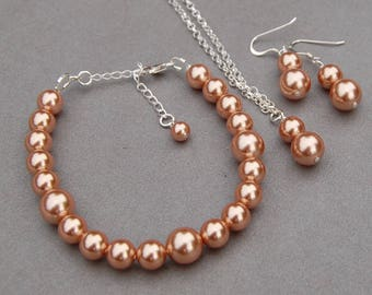 Rose Gold Pearl Jewelry Set, Bridesmaid Jewelry, Bracelet Necklace and Earrings Set, Wedding Jewelry, Bridesmaid Gift, Simple Pearl Jewelry