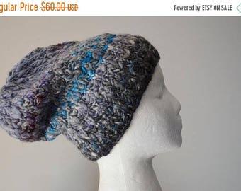 First Fall Sale - 15% Off Grey Textured Alpaca Blend Knit Hat  - Merino Wool, Local Alpaca, Bamboo Handspun Handknit One-of-a-Kind Textured