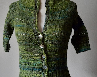 Green Futurist Cardi - Handspun Sweater in Mzerinpo Wool, Bamboo, Synthetic Sparkle, Shell Buttons, Size XS-S, US2-6, One of a Kind Cardigan