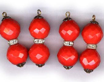 vintage CZECH GLASS bead DROPS rhinestone and glass on wire with a loop lipstick red four drops in all bridal findings