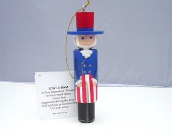 UNCLE SAM Patriotic Ornament, Hand Painted on wood in USA