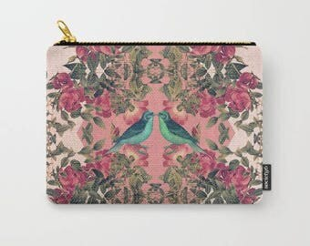 carry-all pouch-roses-floral design-birds-nature-feminine-make-up bag-coin purse-toiletries bag-ipad holder-purse organizer