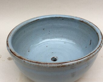 handmade blue ceramic planter- stoneware- pottery-indoor-outdoor-ready to ship-gift
