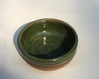 handmade green ceramic  dish/ nuts/ ice cream/serving/ dips/stoneware pottery  B60