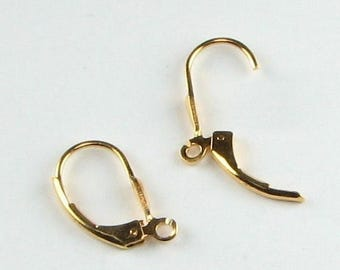 SHOP SALE Vermeil 24 karat Lever Back Ear Wires, Gold Vermeil over Sterling Silver Leverback Earring Components Ear Wires with Tulip Design