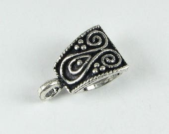 SHOP SALE Bali Sterling Silver Swirls and Dots Slide Bail 16mm x 10mm, Jewelry Findings, Beading Supplies (1 piece)