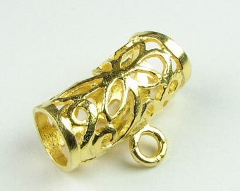 SHOP SALE Vermeil Bail, Gold Vermeil over Bali Sterling Silver Flower Filigree Tube Slide Bail (1 piece)