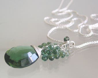 Green Sapphire Silver Tassel Pendant, Sterling Apatite Cluster Necklace, Large Quartz Dangle, Evergreen Earthy Necklace