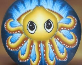 Small Squid Polymer Clay Cane- 'Deep Blue Sea' series (37D)