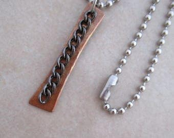 the beat unisex necklace stainless steel oxidized copper