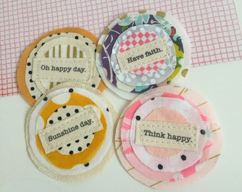 Fabric Scrap sewn Word Flowers, Fabric Affirmation Inspiration word patch, Scrapbook Flowers, Embellishments, Fabric craft word flowers,Q= 4