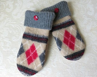 Repurposed Sweater Wool Mittens in Tan, Gray and Red Argyle Pattern, Eco-Friendly Felted Wool Mittens, Adult Size