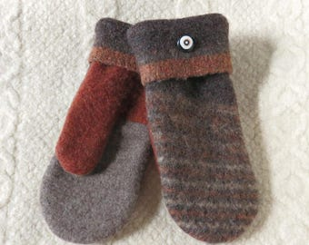 Repurposed Sweater Wool Mittens in Brown and Rust, Eco-Friendly Felted Wool Mittens, Adult Size