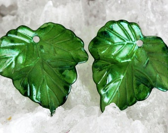 Stained and sealed pair of resin leaves by joycelo