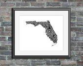 Florida typography map ar...