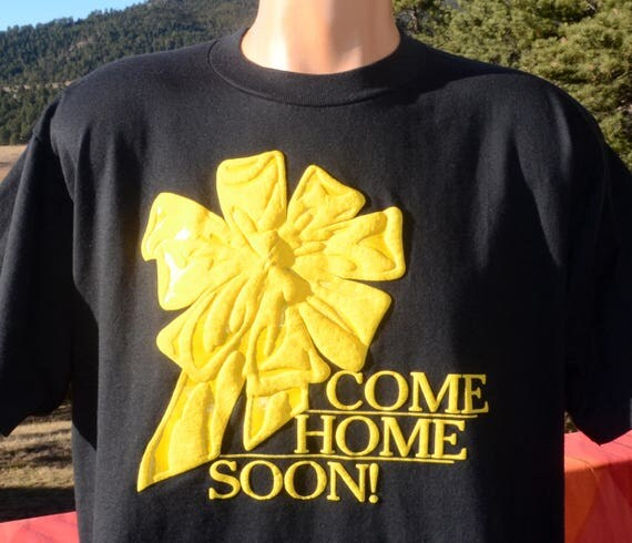 vintage 90s tee YELLOW RIBBON come home gulf war desert storm iraq army t-shirt XL Large
