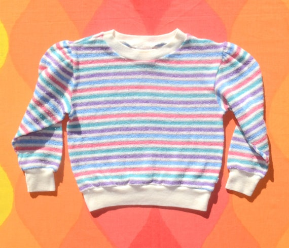 vintage 70s sweatshirt WRANGLER kids stripe glitter girls youth Small 4 purple pink
