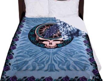 Grateful Dead blankets, Steal your face blanket, Dorm Blanket, tie dye blanket, Dorm room decor, Grateful Dead Fleece, fleece blankets