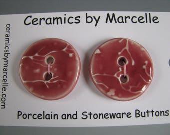 Pair of Buttons Cherry Blossom Pattern Handmade Ceramic Dark Pink