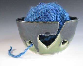 Ceramic Yarn Bowl, Pottery Knitting Bowl, Hearts, Midnight Blue and Spearmint Green