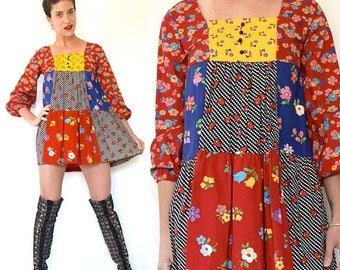 SUMMER SALE / 20% off Vintage 60s 70s Floral Patchwork Box Neck Balloon Sleeve Babydoll Mini Dress (size xs, small)