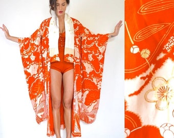 SUMMER SALE/ 30% off Vintage 20s Stunning Blood Orange Floral Print Floor Length Kimono with Ornate Crane Embroidery