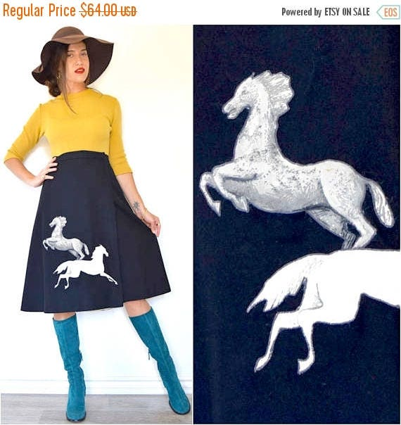 SUMMER SALE / 20% off Vintage 70s 80s Wild Horses 3D Applique Wrap Around Black Wool A Line Skirt (size large, xl)