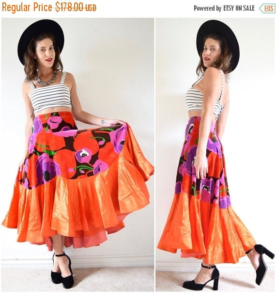 SUMMER SALE/ 30% off Vintage 60s 70s Bailadora High Waisted Floral Print Velvet High Low Orange Satin Flamenco Skirt (size medium, large)