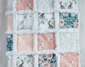 Bunny Quilt for Baby Girl - Forest Animal Quilt - Woodland Quilt for Baby Girl - Bunny Nursery Bedding - Minky Rag Quilt