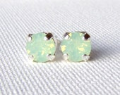 Chrysolite Opal rhinestone stud earrings / mint green earrings / Swarovski crystal / gift for her / birthday gift / surgical steel / seafoam