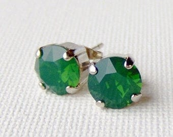 SALE Green opal rhinestone stud earrings / palace green opal / Mothers day gift for her / 8mm / Swarovski crystal / girlfriend gift / unique