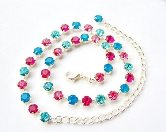 SALE Pink and blue rhinestone tennis necklace / Rhinestone choker / Swarovski crystal / Statement necklace / gift for her / Mother's day