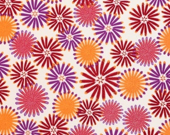 YARD - Zandra Rhodes Fabric, Feathered, Kaleidoscope, Berry, Floral, cotton quilting fabric