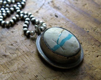 Handmade Sterling Silver and American Boulder Turquoise Necklace Pendant