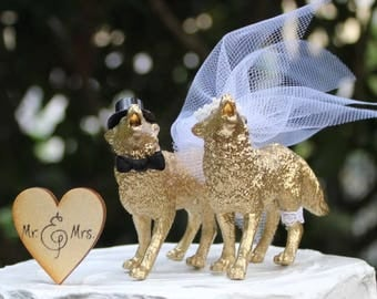 Wolf Wedding Cake Topper, Animal Cake Topper, Timberwolf Cake Topper, Gold Howling Wolf Cake Topper, Bride and Groom Cake Topper