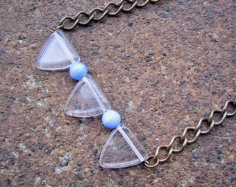 Eco-Friendly Statement Bar Necklace - Through the Looking Glass - Recycled Vintage Brass Chain, Clear Triangular and Pale Blue Glass Beads