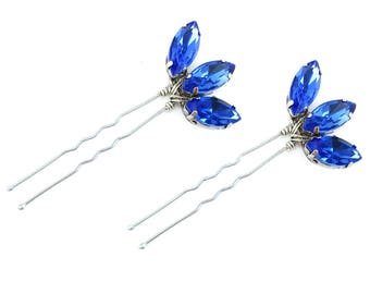 Sapphire Blue Lotus Rhinestone Hair Pins - Blue Crystal Hair Pins, Blue Wedding Hair Accessories, Something Blue