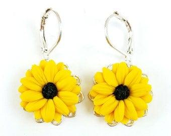 Black Eyed Susan Filigree Earrings - Black Eyed Susan Vintage Style Earrings, Black Eyed Susan Jewelry, Yellow Coneflower