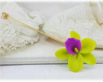 Orchid Stick Pin Brooch - Orchid Jewelry, Orchid Accessories, More Colors