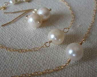 MEMORIAL DAY SALE Akoya Pearl Set-Necklace, Bracelet & Matching earrings on Gold Filled Bridal Set, Wedding Jewelry