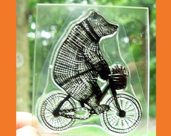 C1  Biking Bear Clear Rubber Stamp with acrylic block