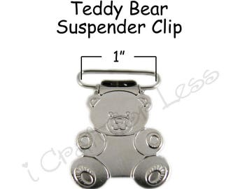 10 Suspender Clips - Metal 1 Inch Teddy Bear w/ Rectangle Inserts - Lead Free - plus Pacifier Holder Instructions - SEE COUPON