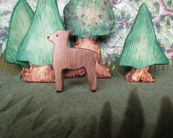 Wooden Little Deer Toy Waldorf Nature Table- Forest animal