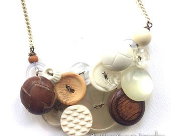 Mixed Media White and Brown Button and Bead Statement Necklace