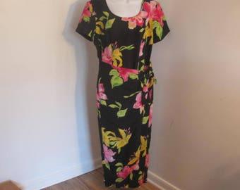 Vintage Dress Floral Dress Straight dress Short Sleeve Dress by S.L. Fashions size 12